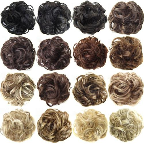 2020 New Trendy Design Women Wavy Curly Messy Hair Bun Synthetic Elastic Hair Tie Extension Hair Scrunchie Hairpieces Bands