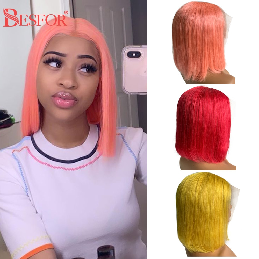 Colored Pink 13x1x4 Lace Bob Human Hair Wigs Real Thick 180% Density Middle T lace Part Short Blonde Cut Wig For Black Women
