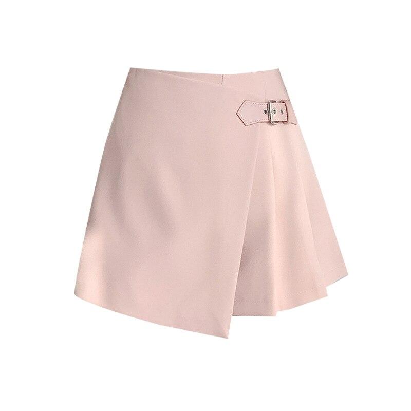 Korean Fashion Women's Irregular Pink Mini Skirt Shorts High Waist Elegant Belt A-Line Skirt Summer Harajuku Pleated Shorts  - buy with discount