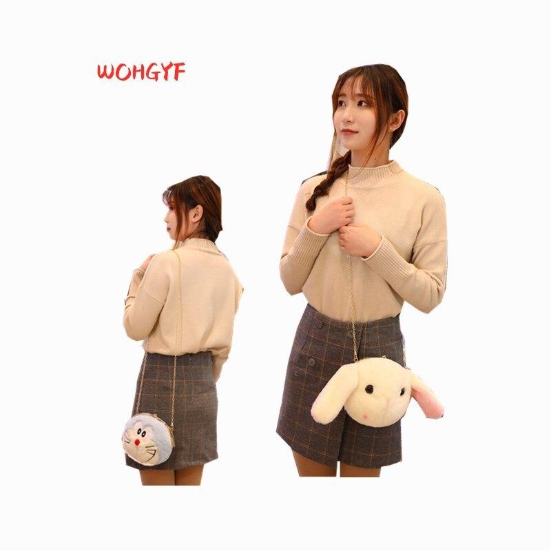 1pc Plush Animal Plush Doraemon Pikachu Hello Kitty Big Long Ears Rabbit Panda Shouder Chain Bag Birthday Gift Boy Girl Toy