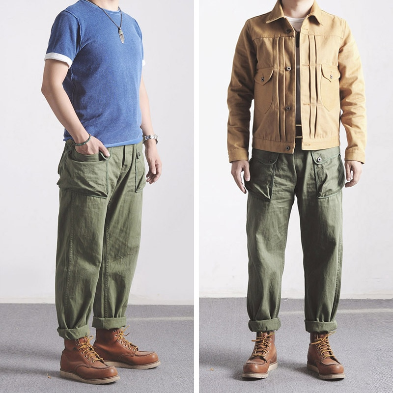 P44-0001 World War 2 US Military Style USMC HBT P44 TROUSERS Mens Cotton Vintage Slim & Straight Fitting Casual Pants