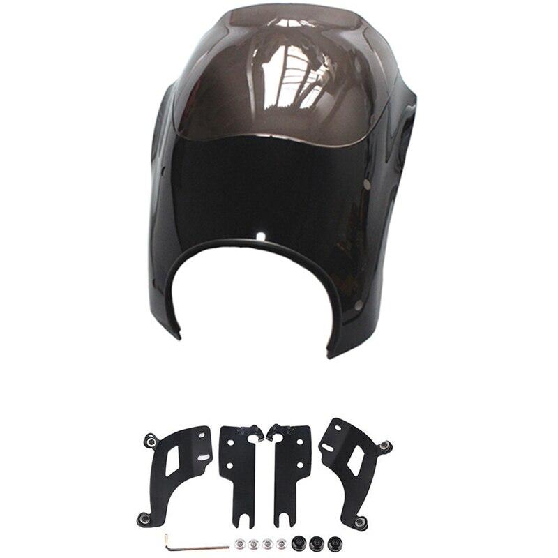 Motocicleta bala farol carenagem windshield w/suporte kit de montagem para harley road king flhr