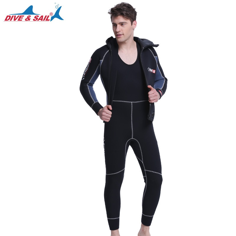 Men's Winter Two Piece 5MM Neoprene Wetsuit Hooded Long Sleeve Full Body Spearfishing Surf Diving Suit Thicken Keep Warm WetSuit