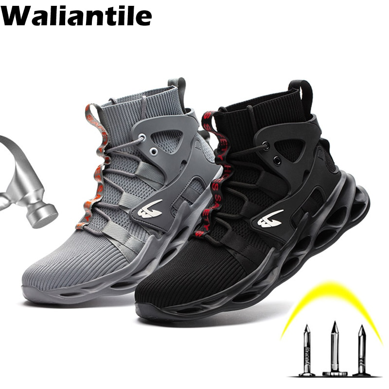 Waliantile Men Safety Work Boots Shoes Breathable Ankle Working Boots For Men Male Anti-smashing Con