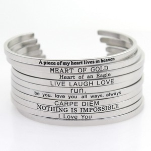Wholesale Random 10pcs/lot Stainless Steel Bangle Engraved Inspirational Quote Hand Stamped Cuff Mantra Bracelets For Men Women