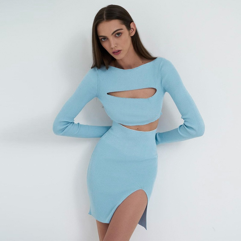 Hot-Selling Slim Women Short Cut-Out High-Waist Skirt Long-Sleeved Cut-Out Top Sexy Elastic Side Slit Half Skirt Two-Piece Suit