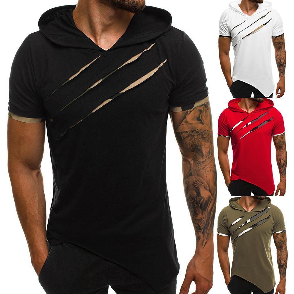 Мужская футболка с коротким рукавом, модная, рваная, с асимметричным подолом, тонкая, для фитнеса, с капюшоном, винтажная
