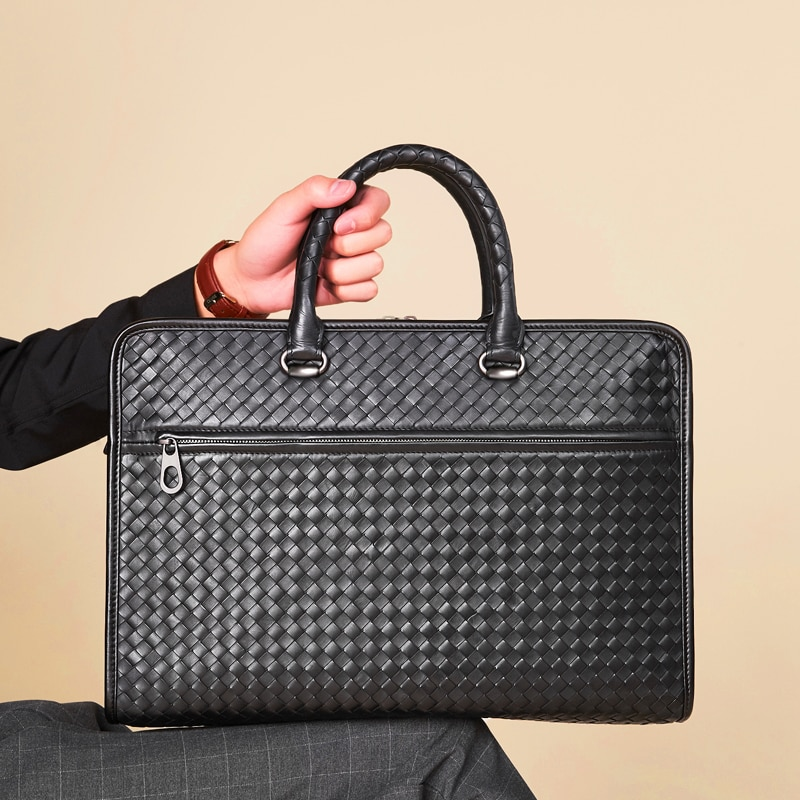 Men's Luxury Brand Business Briefcase Large Capacity Authentic Leather Sheepskin Woven Classic Shoulder Handbag 15-Inch Notebook