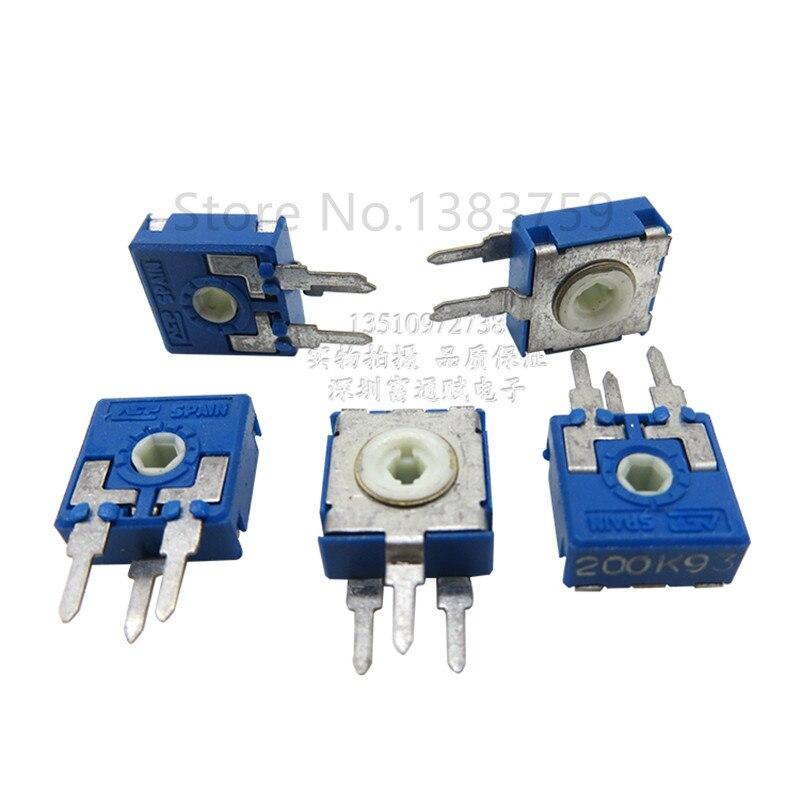 5pcs Adjustable Resistor CA9 Vertical Hex Hole 200K PT10 Spain Potentiometer