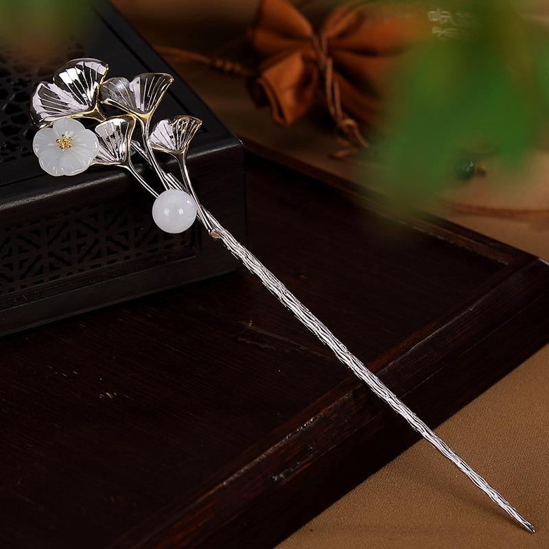 Horquillas con forma de hoja Ginkgo con flor de Jade chino de plata esterlina 925 para accesorios de mujer, joyería de lujo chapada en oro
