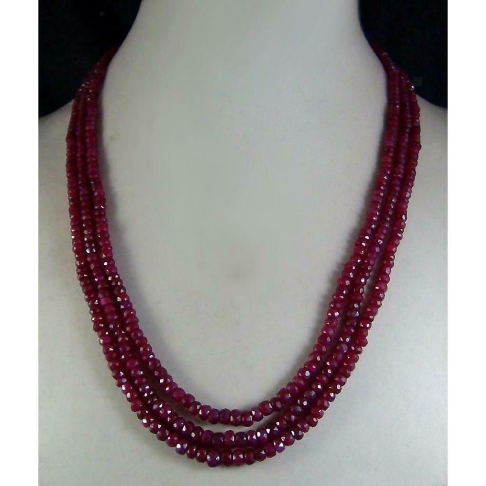 Frete grátis elegante natural rubi facetado contas strass fecho colar 3 strand 3x4mm