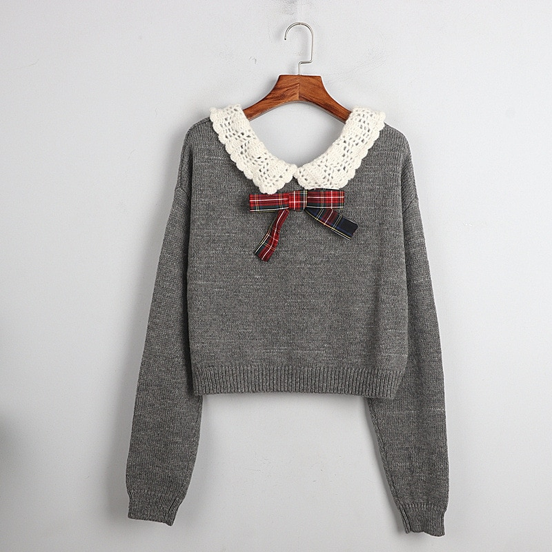 1101 2020   Autumn Sweater Free Shipping Lapel Neck Long Sleeve Kint  Gray Bow Fashion Womens Clothes  S m L    dl