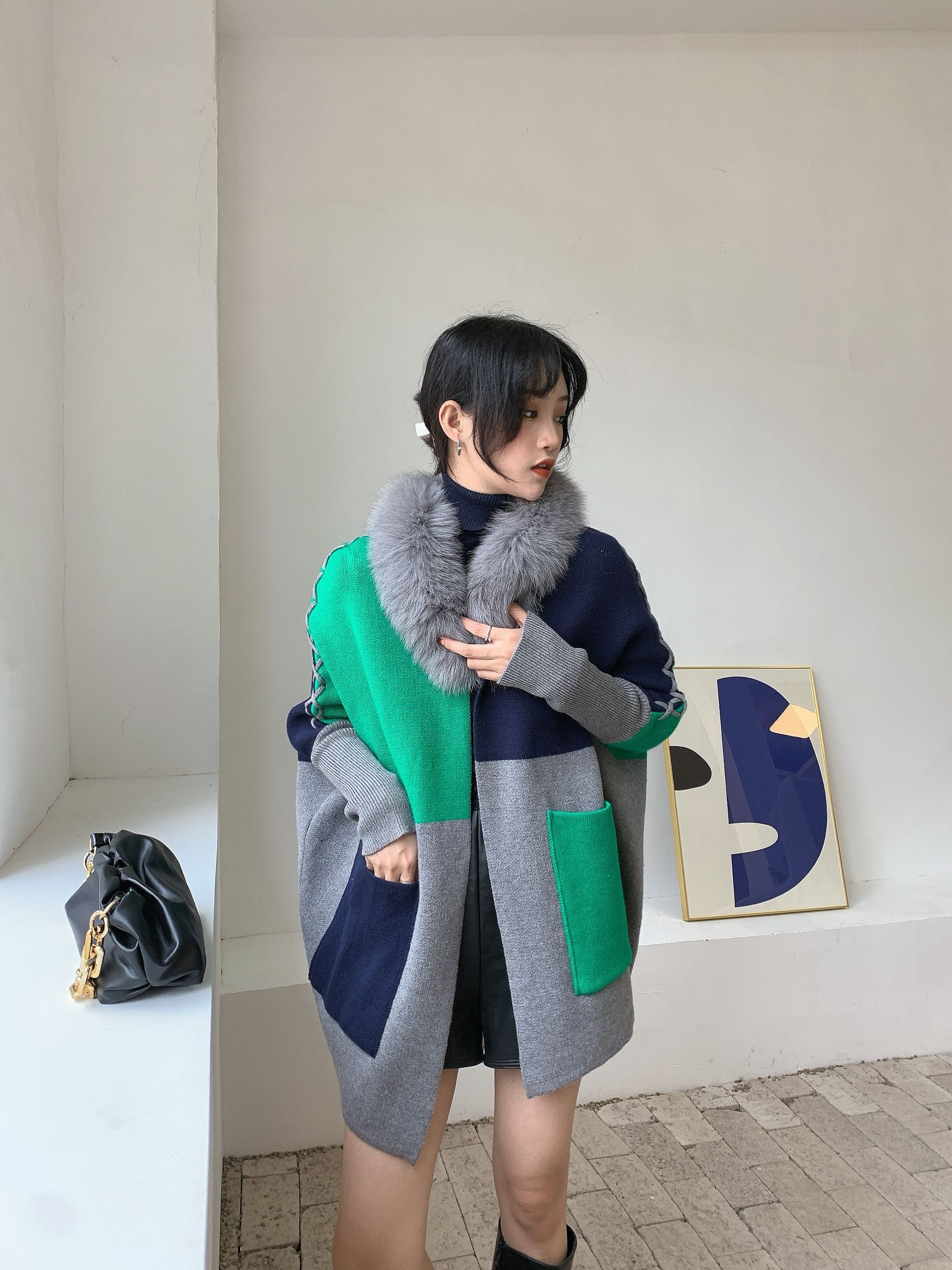 Jumper Cardigan Feminino Women 's 2020 Winter Sweater New Move Color Matching Drawstring Fur Collar Bat Sleeve Thick Real Fox enlarge