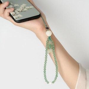 Image 2 - Оригинальный натуральный зеленый Клубника Кристалл короткий телефон ремешки наручный ремешок подвеска падение сопротивление съемный ключевой ремень