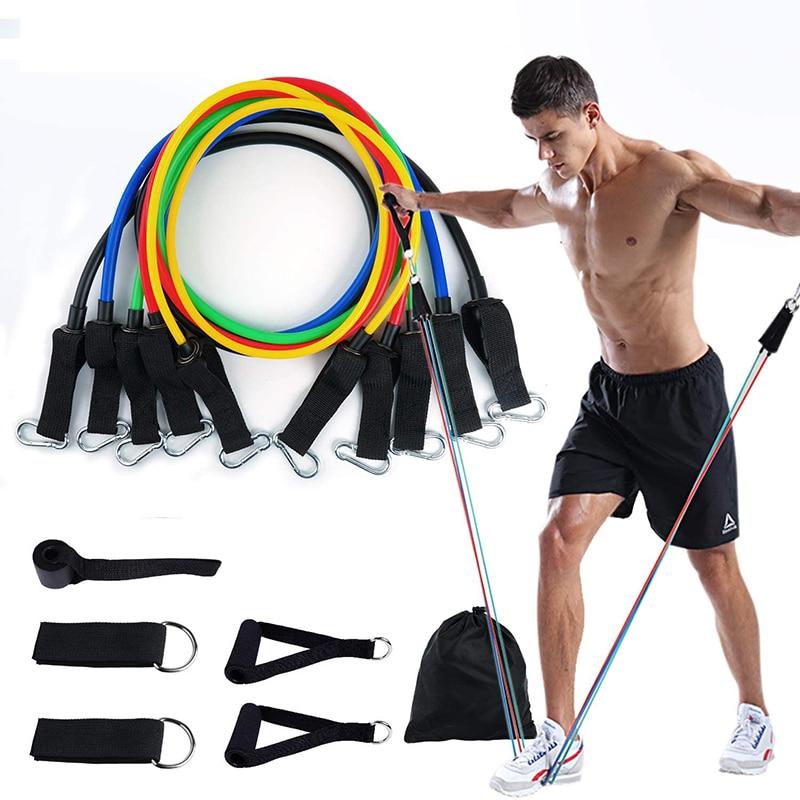 11 Piece Yoga Resistance Rubber Bands Indoor Outdoor Fitness Gum Equipment Pilates Sport Training Workout Elastic Bands