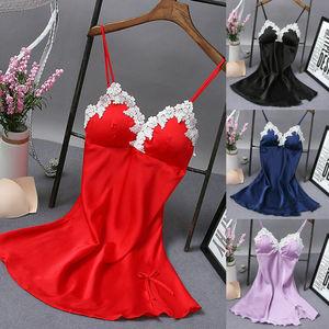 New Women V-neck Satin Silk Lace Night Dress Nightgown Sleepwear  Nightgowns & Sleepshirts