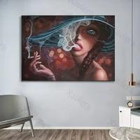 Affiches et imprimes dart mural retro de belle fille  peinture sur toile imprimee a la mode nordique  decor de maison  image modulaire de chambre a coucher