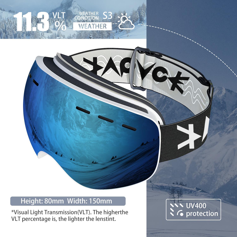 2021 зимние лыжные зеркальные Спортивные мужские и женские очки УФ-зеркальные лыжные очки для сноуборда Для Взрослых противотуманные сферич...