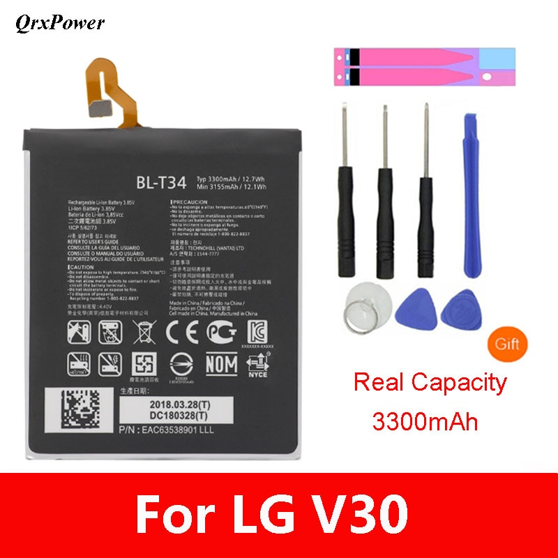 QrxPower Original BL-T34 Mobile Phone Battery For brand LG V30 V30A H930 H932 LS998 Replacement Li-i
