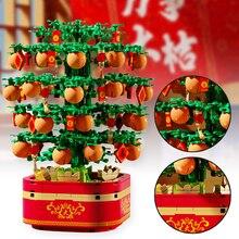 Building Blocks Chinese New Year Lucky Kumquat Tree Mechanical Movement Music Box with Lights New Ye