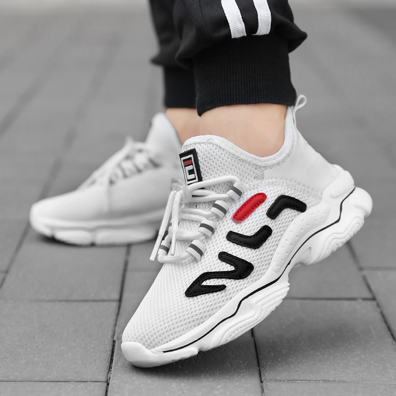 2021 New Kids Sock Sneakers Boys Girls Breathable Sport Running Shoes Fashion Lightweight Black Chil