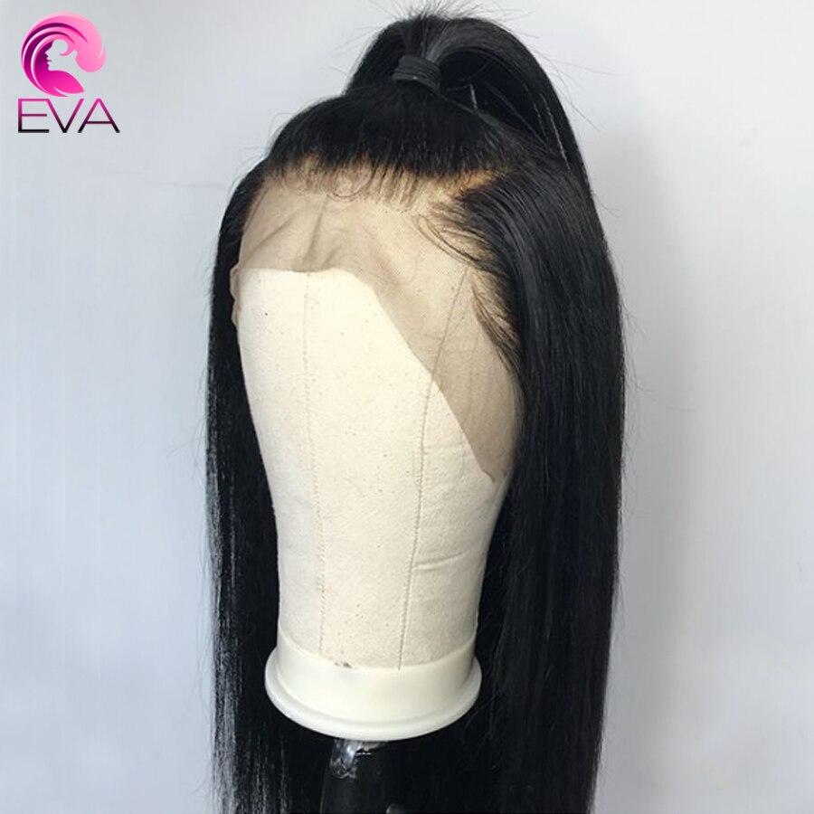 Eva reta frente do laço perucas de cabelo humano pré arrancadas com o cabelo do bebê glueless perucas da parte dianteira do laço para o cabelo remy brasileiro preto feminino