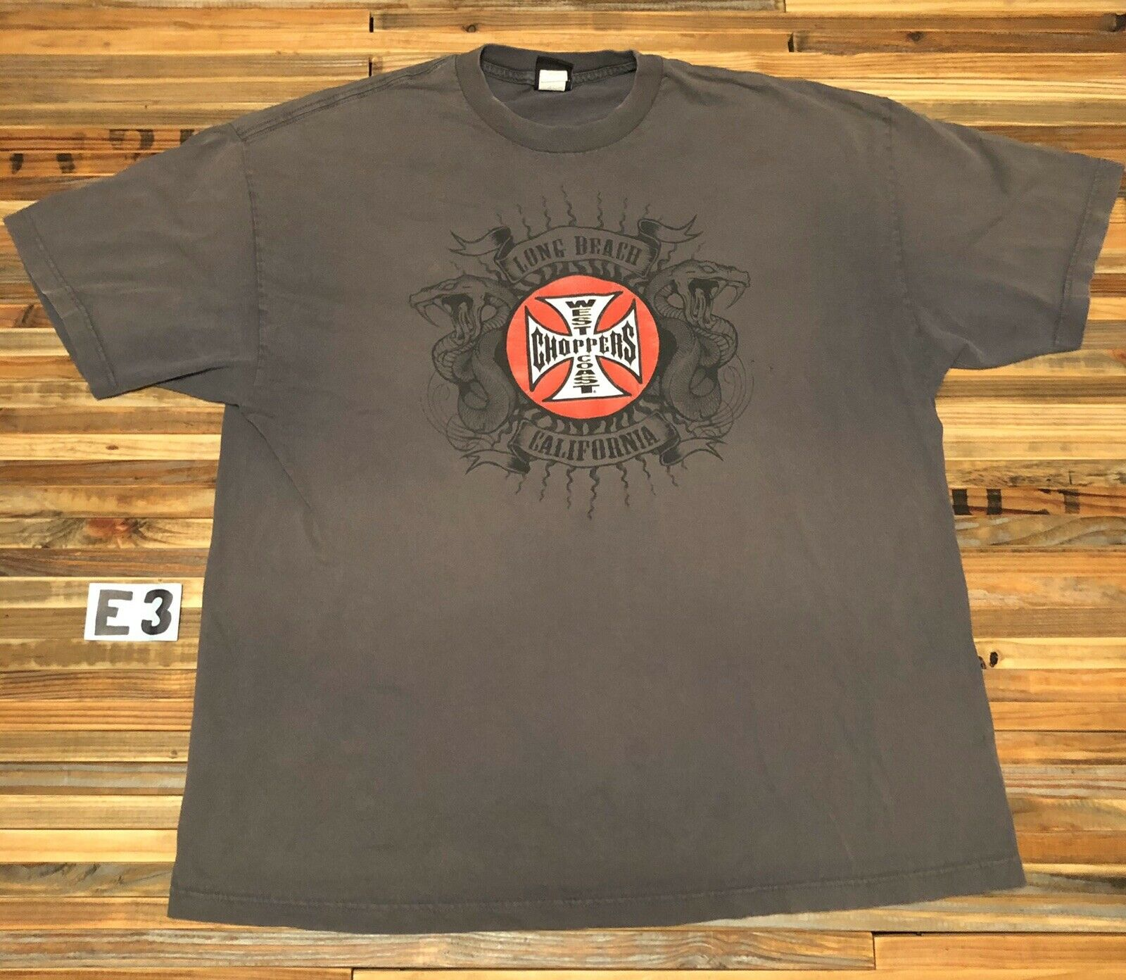 Camiseta Vintage West Coast Choppers para hombre Xxl 2Xl, gran Logo gris