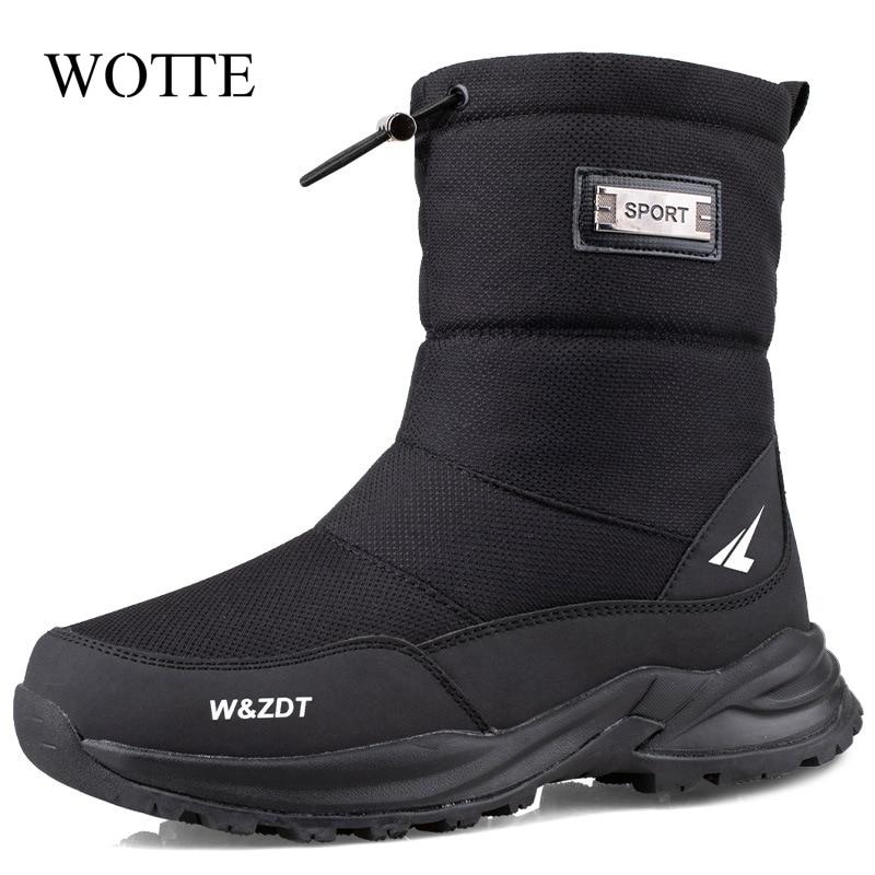 Men Boots 2020 Winter Shoes Men Snow Boots Waterproof Non-slip Thick Fur Winter Boot For -40 Degrees zip Platform Boots Ssize 40