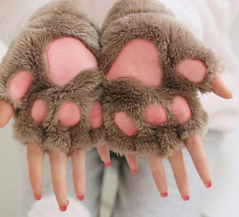 New Women Cute Cat Claw Paw Plush Mittens Warm Soft Plush Short Fingerless Fluffy Bear Cat Gloves Costume Half Finger Party Gift