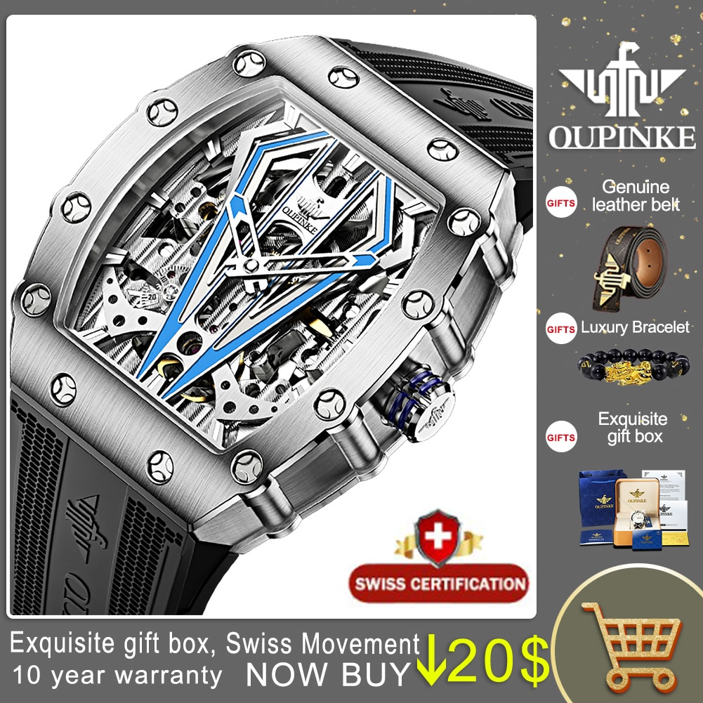 OUPINKE أعلى العلامة التجارية الفاخرة الرجال الميكانيكية التلقائي الساعات السويسرية حركة للماء الياقوت مرآة الرجال Automaitc ساعات