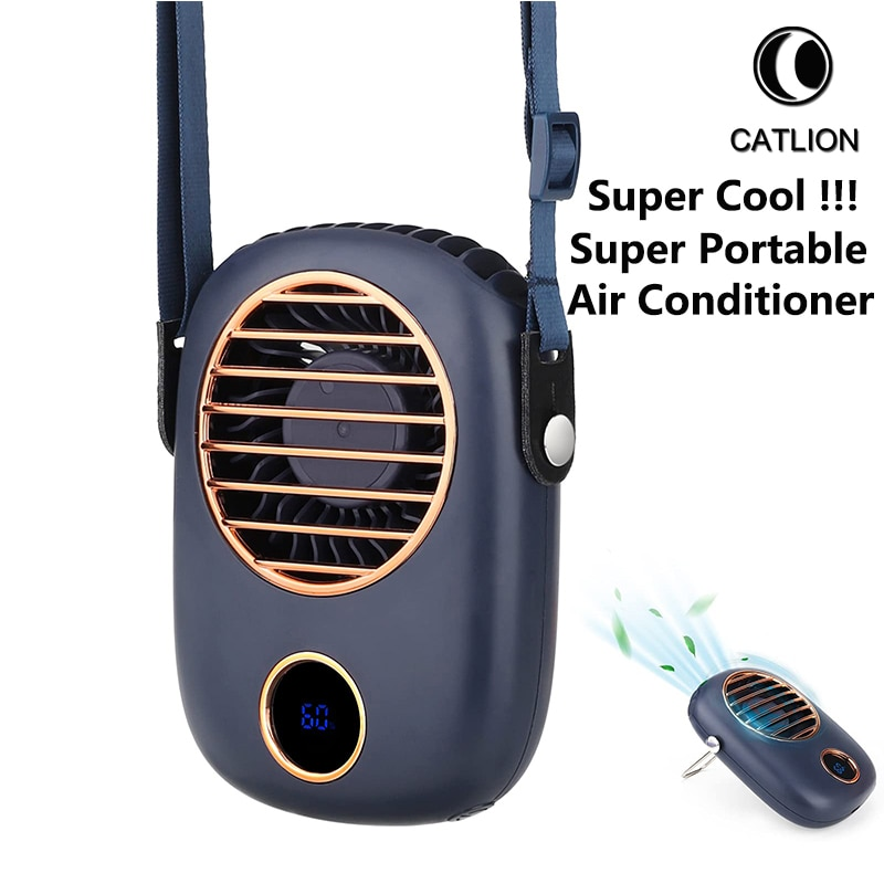 rechargeable water mist mini fan usb fans with 2000mah li battery air ventilador air cooler conditioning for home outdoor Neck Fan Portable Electric Fans Air Cooler Cooling Mini USB Rechargeable Handheld Outdoor Mute Hand Neckband Pocket Ventilador