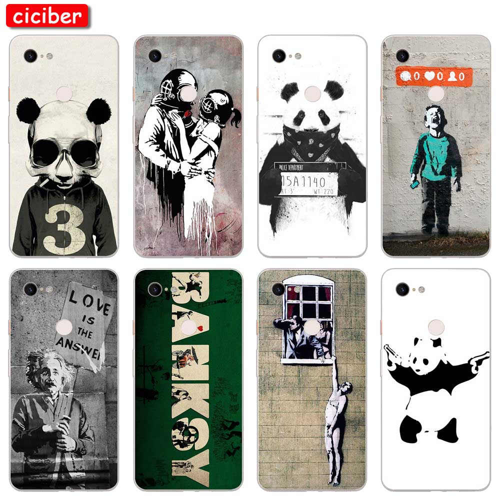 Banksy Phone Cases For Google Pixel 3a 3 4 2 XL Soft Silicone TPU Back Cover For Pixel 3XL 2XL Street Art Painting Coque Fundas