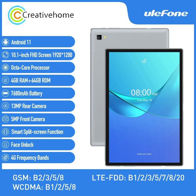 Ulefone-tablet a7, 4g, ligação telefónica, 10.1 polegadas, ram 4gb rom, 64gb, desbloqueio facial, bateria 7680mah, android 11.0, sc9863a, octa-core, 1.6ghz