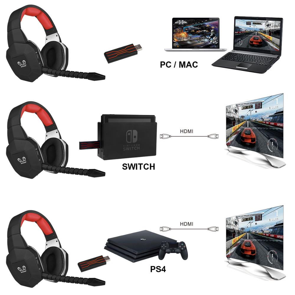 HUHD 2.4G Gaming Headset W/ USB Dongle 7.1 Surrond Sound Earphone for PS5 PS4 PC Wireless Gaming Headphone for Video Gamer enlarge