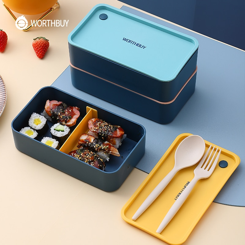 WORTHBUY Portable Lunch Box For Kids School Microwave Plastic Bento Box With Movable Compartments Salad Fruit Food Container Box