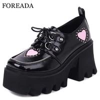 foreada autumn shoes woman platform high block heels pumps lace up square toe heart print ladies footwear jk uniform pumps 34 43