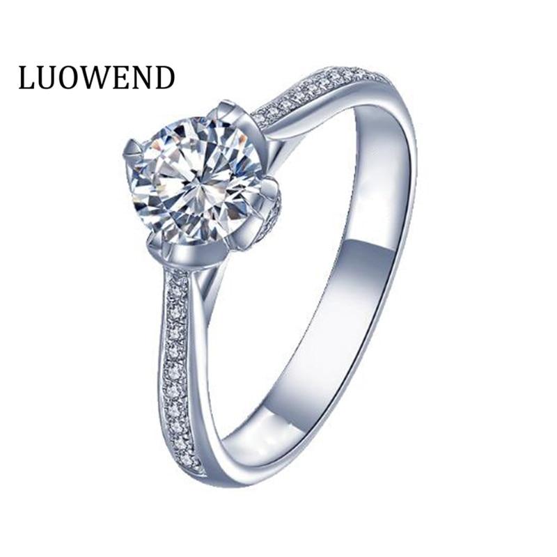 LUOWEND 18K الأبيض الذهب (AU750) خاتم الزواج 0.50 CT الذهب خواتم ريال الطبيعية خاتم الماس للنساء المشاركة تخصيص