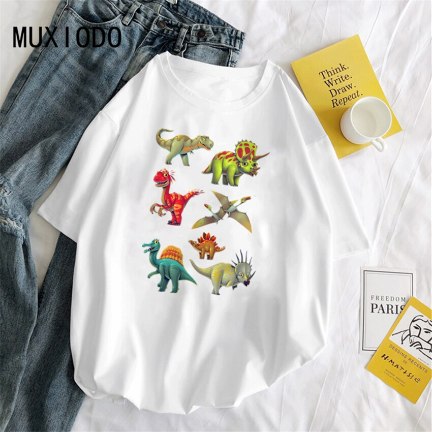 2020 summer casual dinosaur cartoon alphabet printing fun ulzzang Hallyu Harajuku womens with print T-shirts for men and women