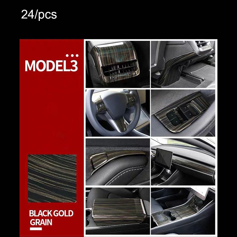 Para Tesla 3 2017-2020 madera de Durazno grano 24/Uds modificación interior Centro panel de control salida instrumento panel Decoración