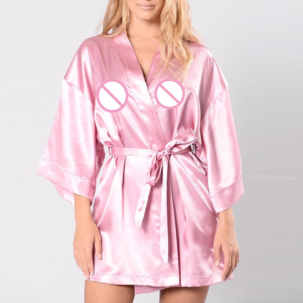 Batas sexis de mujer talla grande 3XL lencería Sexy de señora de encaje de seda bata de satén ropa de dormir encantadora bata kimono seda mujer 30 #