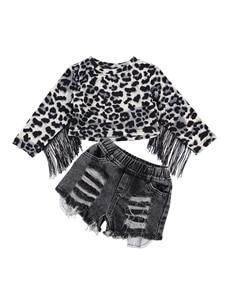 Kids Girls Clothes Sets Leopard Tassel Long Sleeve Pullover T Shirts Tops Denim Shorts