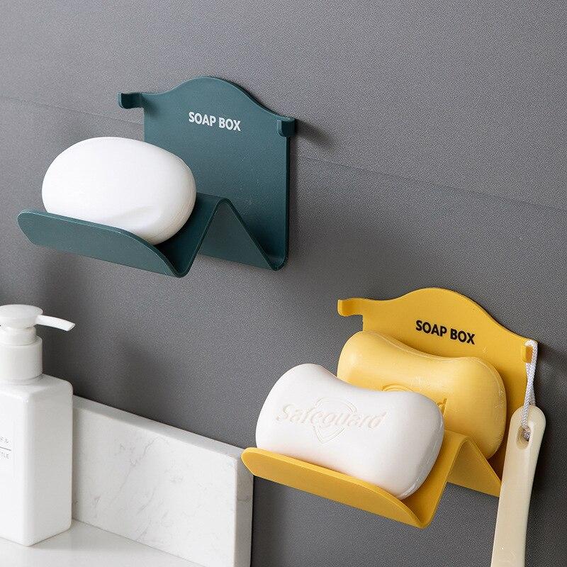 Caja de jabón montada en la pared, parte posterior sin seguimiento, caja de jabón no perforada, bandeja de jabón de drenaje japonesa, estante de doble propósito para Baño