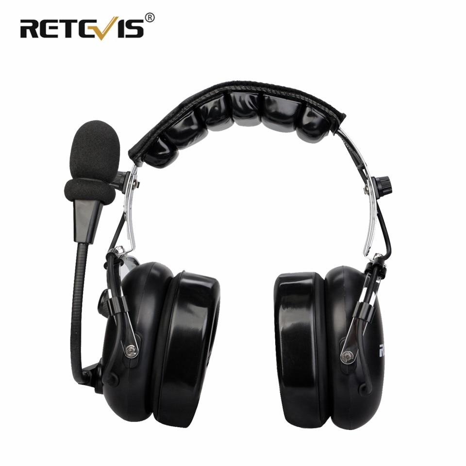 2 Pin Binaural Noise Reduction Aviation Headphone Walkie Talkie Headset Headphone For Kenwood For Baofeng UV-5R For Retevis