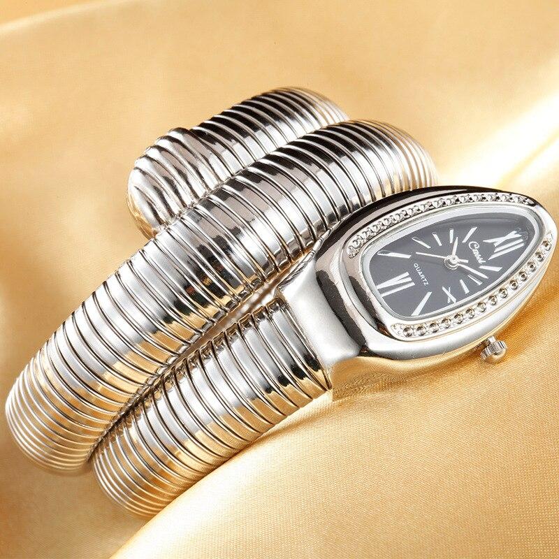 Tendências produtos 2020 senhoras relógios de luxo ouro cobra enrolamento relógios moda feminina quartzo pulseira relógios promoção