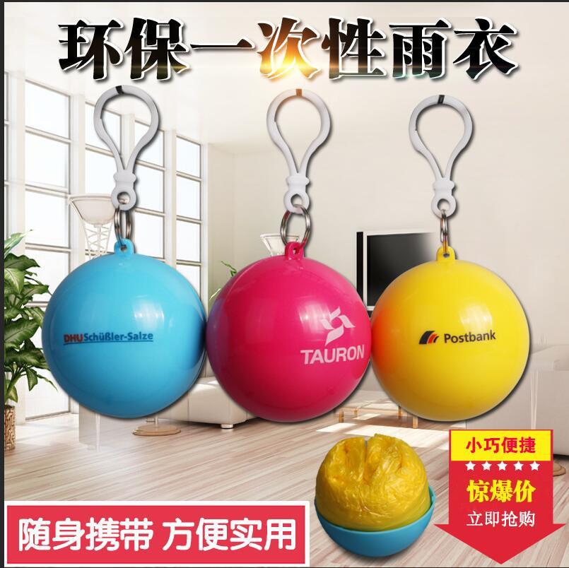 Portable Plastic Raincoat Ball Raincoat Adult Love Children Travel Raincoat Custom Logo Gifts