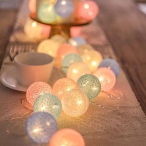 Christmas Decorations Cotton Balls Led String Lights Garlands Fairy Lights Holiday Battery Operated Lights Navidad Wedding Decor