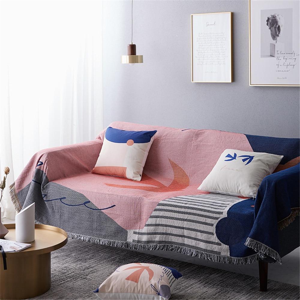 TELA ESCOCESA nórdica de punto manta para sofá cama cubierta decoración Silla de punto sofá cubierta multifuncional tapiz de pared Boho colcha