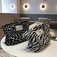large women leopard cosmetic bag canvas waterproof zipper make up bag travel washing makeup organizer beauty case