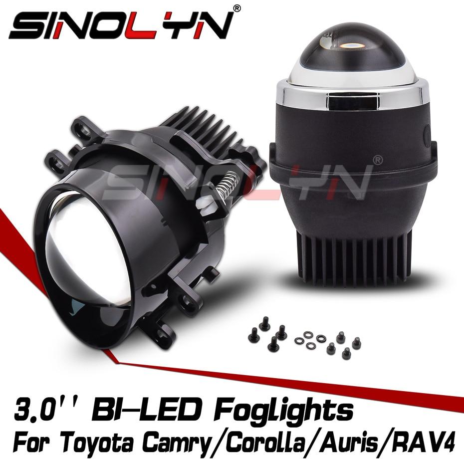 Sinolyn ثنائية LED أضواء الضباب LED عدسة لتويوتا كامري/كورولا/هايلاندر/يارس/أوريس/RAV4/بيجو سيارة أضواء PTF العارض ضبط