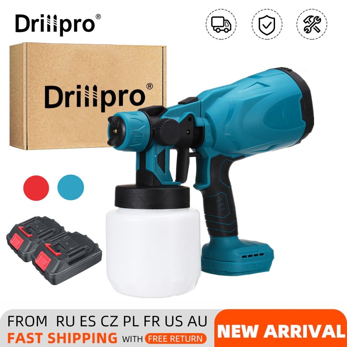 Drillpro 800 مللي بندقية رذاذ كهربائية لاسلكية تطهير منزلي تعقيم رشاش دهان محمول لبطارية ماكيتا 18 فولت